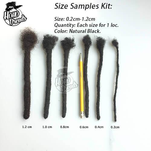 afro kinky locs size samples kit 0.2-1.2cm